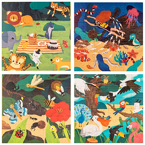 Puzzles for Kids Ages 3-8 Years Old,4 in 1 Animals, Marine,Insects and Birds Natura Popular Science Children's Puzzles,Educational Learning Toys Set for Boys and Girls(4 Puzzles)