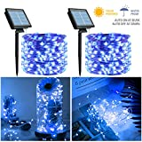 Outdoor Solar String Lights, 2 Pack 33FT 100 LED Solar Powered Fairy Lights with 8 Lighting Modes Waterproof Decoration Copper Wire Lights for Patio Yard Trees Christmas Wedding Party (Blue)