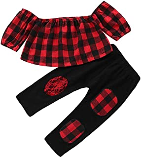 snowvirtuosau 2pcs/Set Kids Girls Off Shoulder Long Sleeve Plaid Print Tops Long Pants