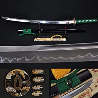 GUREN Japanese Samurai 1095 Katana Sword high Carbon Steel Eagle tsuba unokubi zukuri Real hamon Full Tang Blade can Cut bamboos