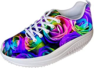 FOR U DESIGNS Women's Fashion Floral Colors Swing Strength Fitness Walking Sneakers Wedges