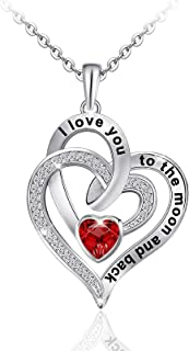 Distance Heart Necklace for Women 925 Sterling Sliver Heart Jewelry I Love You to The Moon and Back Necklaces for Mother G...