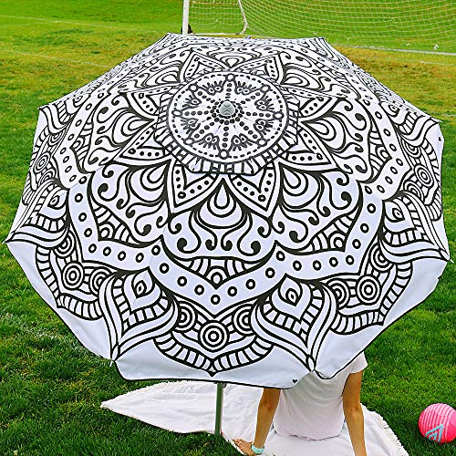 Beach and Grass Umbrella with Matching Travel Carrying Bag - Large 7 Feet 5 Inches Tilting Telescopic Aluminum Pole - Twist Sand/Grass Anchor - Wind Air Vent - Fiberglass Ribs (Henna Black/White)
