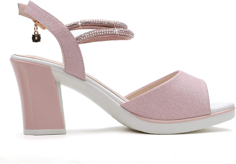 ALWAYS ME Two colors Black Pink Women Sandals Spring Summer peep Toe high Thick Heels Ladies Glitters Strap