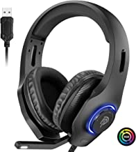 $27 » EasySMX PS4 Headset, Headset with Mic, [7.1 Surround Sound], [Noise Reduction Mic], On-Earcup Control, RGB LED Lights, Professional PC Gaming Headset, Gaming Headphones for PS4, PS3, Laptop