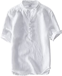 Men's Vintage Round Collar Chinese Style Henley Shirts Short Sleeve Tops