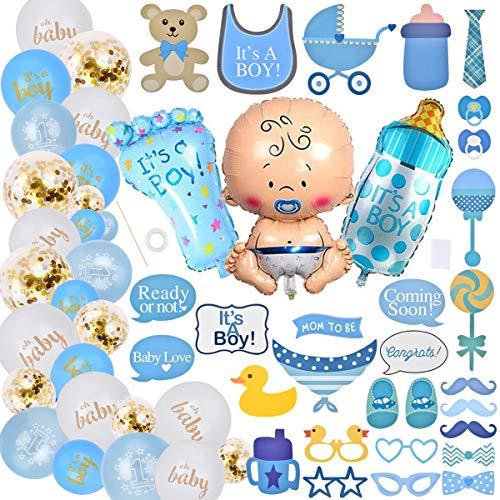 Homclo Baby Shower Decoración para fiesta de bebé, color azul mamá, banda, pancarta de ducha para bebé, globo de película para mamá su sexo
