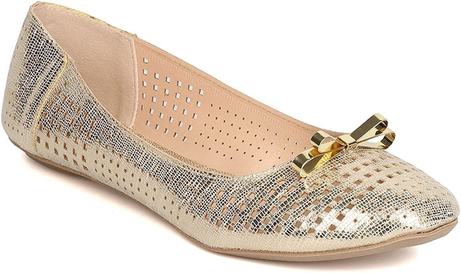 Qupid Women Metallic Leatherette Perforated Bow Tie Ballet Flat FI21 - Champagne