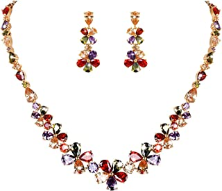 WeimanJewelry Colorful Cubic Zirconia Necklace and Earring Bridal Wedding Jewelry Set Silver