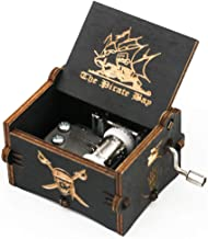 Pirates of The Caribbean Music Box Hand Crank Carved Wooden Musical Box,Musical Gift,Play Davy Jones Theme,Black