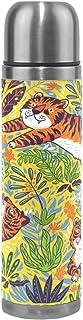 Ahomy Tiger Leaf - Termo de Acero Inoxidable Aislado al vacío, Botella de Agua, Taza de café de Viaje, 500 ml