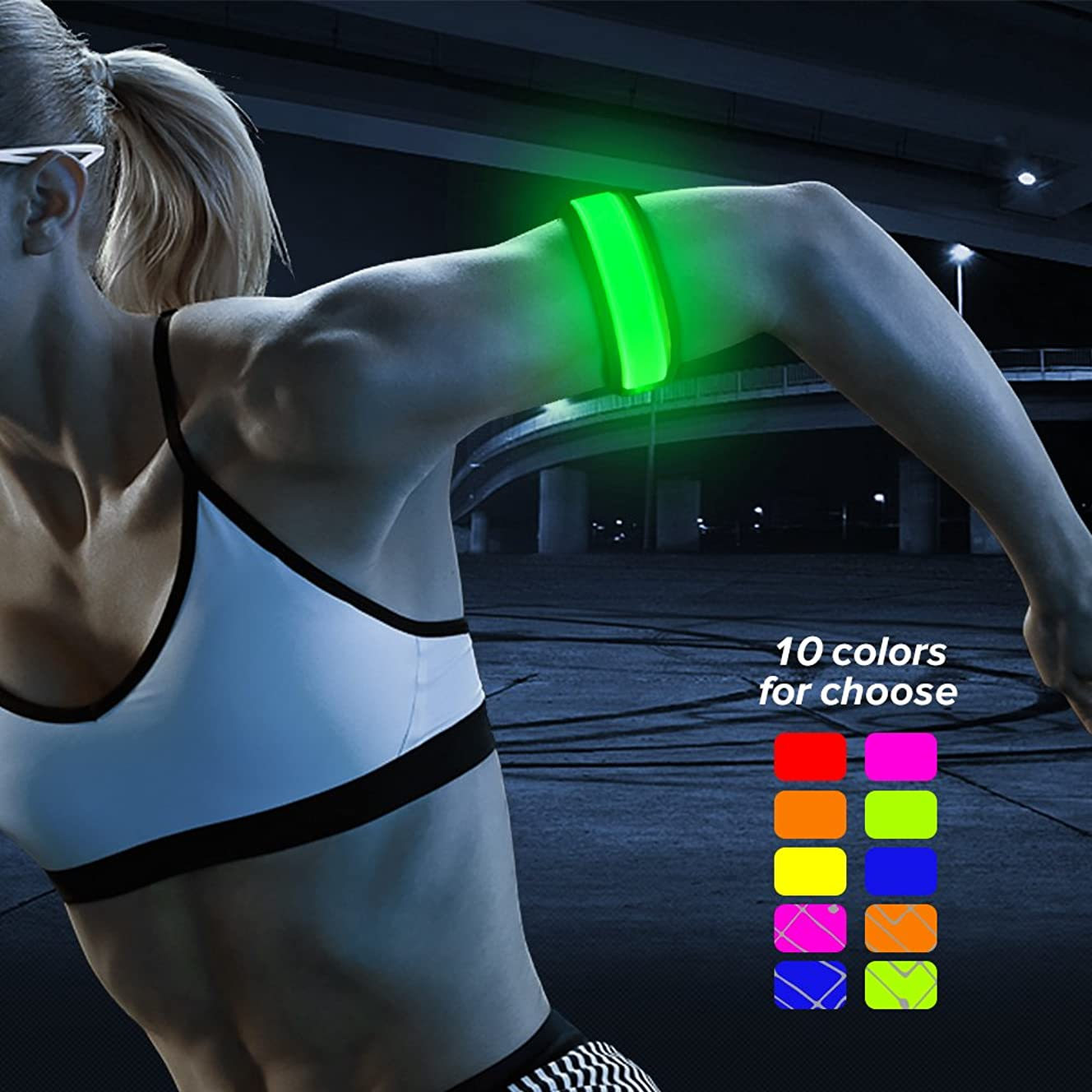 BSEEN LED Armband, Glow in The Dark Led Slap Bracelets Sports Safety Event Wristband, for Runners, Joggers, Cyclists