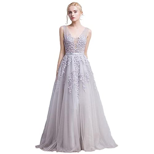 Tempatation Womens Double V-Neck Tulle Appliques Long Evening Cocktail Gowns