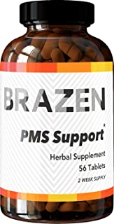 Brazen PMS Support Supplements: Hormone Balance for Women for Premenstrual Irritability, Bloating, Digestive Issues, Headache — All Natural, Research Backed, Made in USA — One Cycle Pack