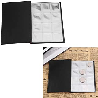 Acogedor Coin Album Collection,Portable 10 Pages 120 Pockets Challenge Coin Holder,Coin Storage Album Book for Coins, Cap...
