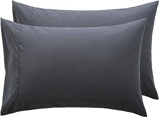 Bedsure Taies d'oreiller 50 x 70 cm Gris - Lot de 2 Housses Oreiller Rectangulaire en Microfibre Brossée, Protège Oreiller...