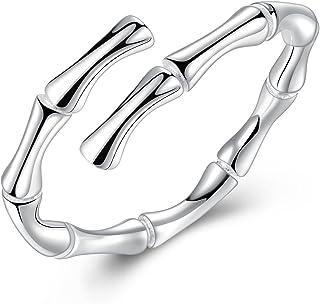 Gemshadow donne ragazze in argento Sterling 925Bamboo Bone anello regolabile