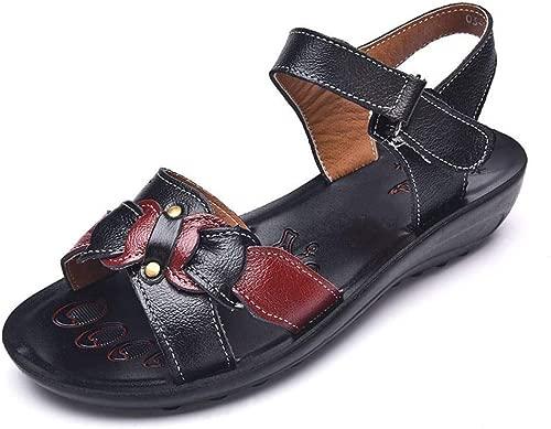 YANLIN Damensandalen Casual Leder Sandalen Frauen Keil Sandalen Plattform Sommer Schuhe Damen Strand Schuhe