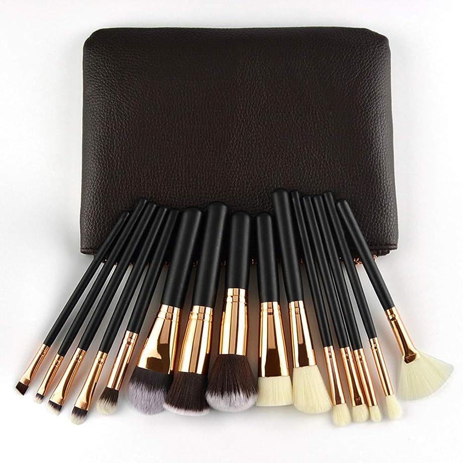 資料いつかセマフォローズゴールドメーキャップブラシセット15個美容ツール化粧品ブラシ木製ハンドルショートロッドPUバッグブラック
