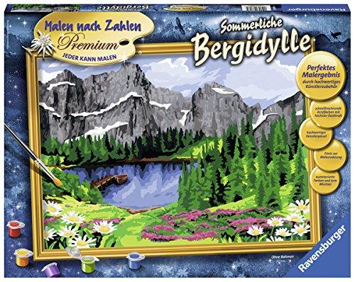 Ravensburger Malen nach Zahlen 28898 - Sommerliche Bergidylle - Perfektes Malergebnis durch hochwertiges Künstlerzubehör, ohne Rahmen