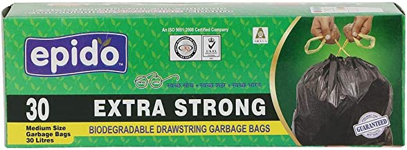EPIDO Drawstring Garbage Bags Blue Color 120 Pcs. (Size 20x26, Medium) 30 LTR.