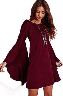 VIVICASLTE Women's USA Long Flare Bell Sleeve Blouse Mini Dress