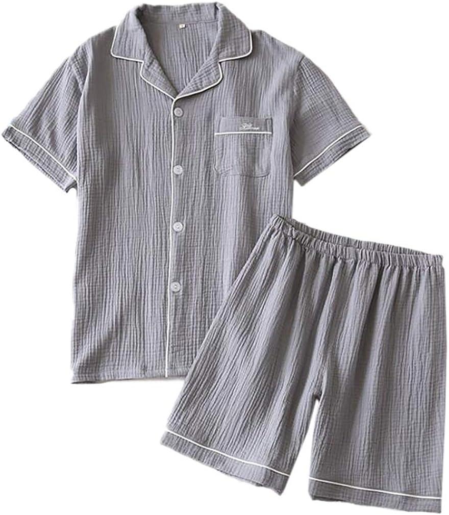 ECHERY Two-Pieces Man's Summer Gauze Sleepwear Suits Crepe Lounge Sets