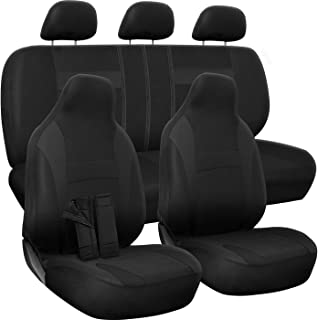 OxGord Padded Car Seat Cover - Solid Black for Front Low Bucket and 50-50 or 60-40 Rear Split Bench - Universal Fit for Car, Truck, SUV, Van, or Pickup - Includes Seat Belt Pads - 10 PC Complete Set