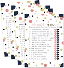 Navy and Coral Bridal Shower Game - He or She Said - Pack of 25