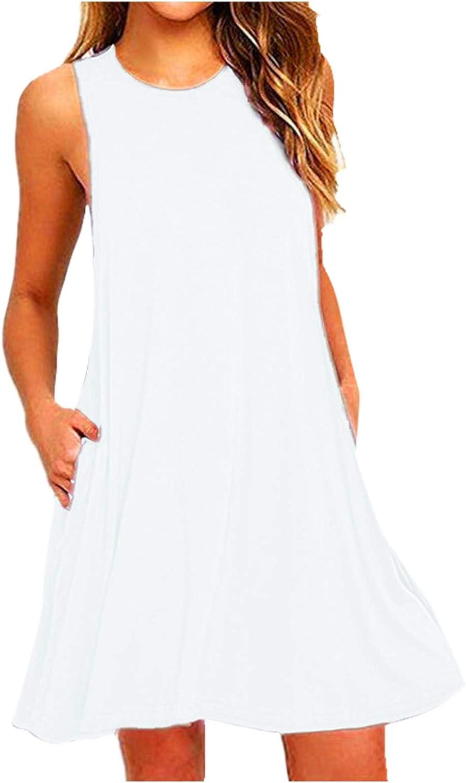 Tavorpt Women's Solid Color Round Neck Sleeveless Sundress Dress Casual Summer Plus Size Dresses