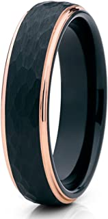 Rose Gold Tungsten Wedding Ring,Rose Gold Tungsten Ring,Black Tungsten Ring,Hammered Ring,6mm