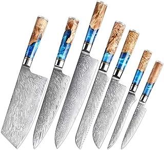 Mrjg Cuisine Professionnelle Couteau de Chef Damas Japan Steel VG10 Premium Bleu résine et Couleur poignée en Bois Outils ...