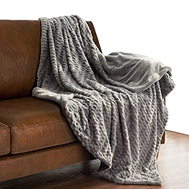 Bedsure Faux Fur Throw Blanket Fleece Bed Throw 50 x60  Solid Grey, Super Soft & Warm, Reversible with Flannel, Shaggy Fuzzy Blanket by