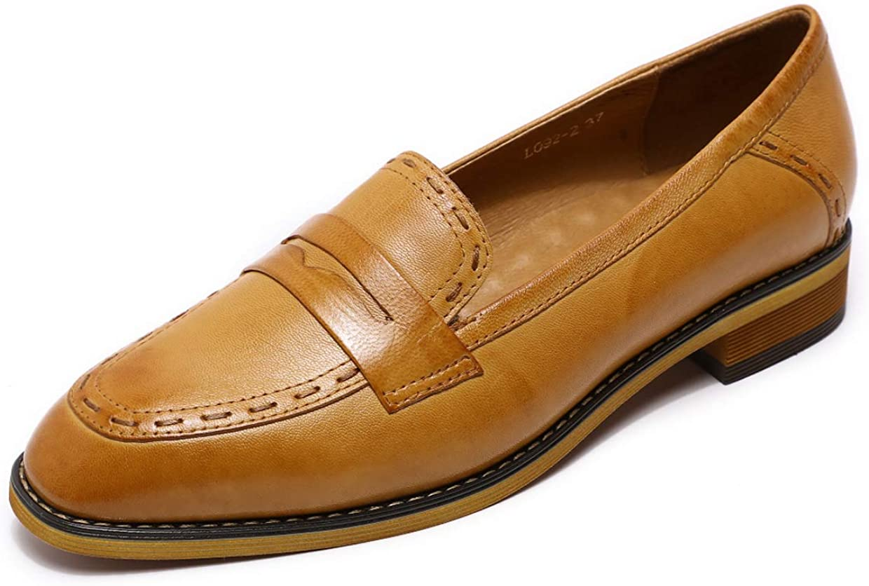 Spring new work Mona flying Women's Leather Penny Loafers Flats Slip L Ranking TOP16 Office On
