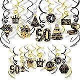 HOWAF Decoraciones de Fiesta 50 Cumpleaños,Remolinos Colgantes Techo de Oro Negro,Lámina Brillante Remolinos Colgantes para Fiestas de 50 Años Feliz Cumpleaños Decoracion para Hombres y Mujers,30 Pcs