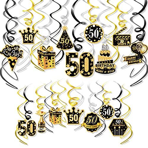 HOWAF Oro Nero Compleanno 50 Anni Decorazioni per Uomo Donna , Compleanno 50 Anni Appeso soffitto Spirale Decorazione, Buon Compleanno per Compleanno 50 Anni Anniversario di Matrimonio Decorazioni