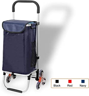 Djyyh Outdoor Aluminum Folding Shopping Trolley Cart with Wheels (Color : Blue, Size : 6-Wheels)