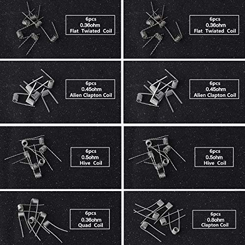 FEIGO 48 Preformado Bobinas Atemto 8-en-1 para RDA RBA RDTA E Cigarette Alien Clapton Coil, Fused Clapton Coil, Tiger Coil, Clapton Coil, Mix Twisted Coil, Hive Coil, Quad Coil, Flat Twisted Coil