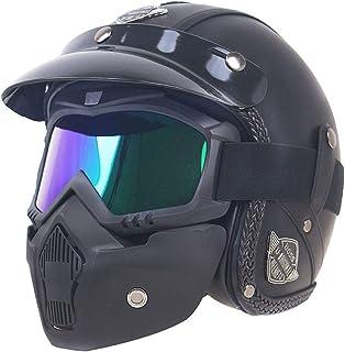 NOMAN Harley Jet Helme aus PU Leder, 3/4 Motorrad Chopper Fahrradhelm/offenes Gesicht Vintage Motorradhelm DOT Standard mit Goggle Maske (M, L, XL)