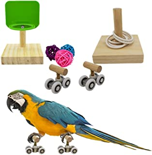 Vehomy Bird Puzzle Toys Parrot Trick Tabletop Toy Bird Basketball Toy Mini Roller Skates Toy for Small Medium Parrots Bird...