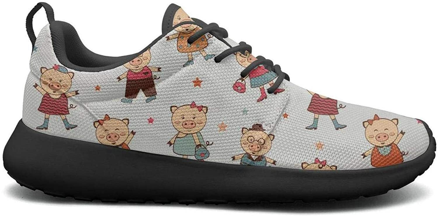 Gjsonmv Happy Pig Family with Stars mesh Lightweight shoes for Women lace up Sports Volleyball Sneakers shoes