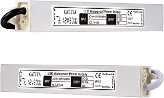 CATIYA 12V 30W LED Driver Transformer, IP67 Waterproof Constant Voltage Power Supply for LED Strips