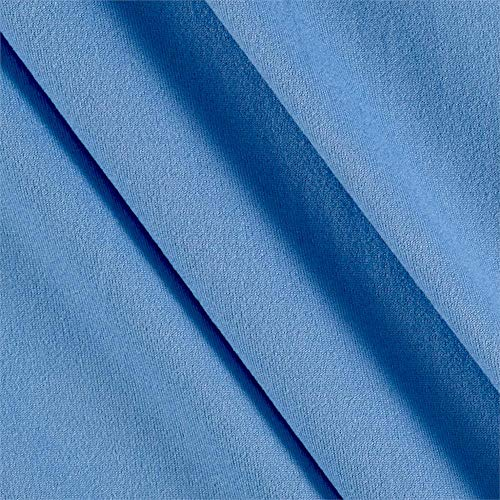 Fabric Merchants Double Brushed Solid Jersey Knit, Yard, Blue Light