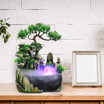 Caredy Waterfall Decor Indoor Relaxation Desktop Tabletop Water Fountain Waterfall Small Rockery Humidifier for Indoor Oudoor Office Home Desk Decoration