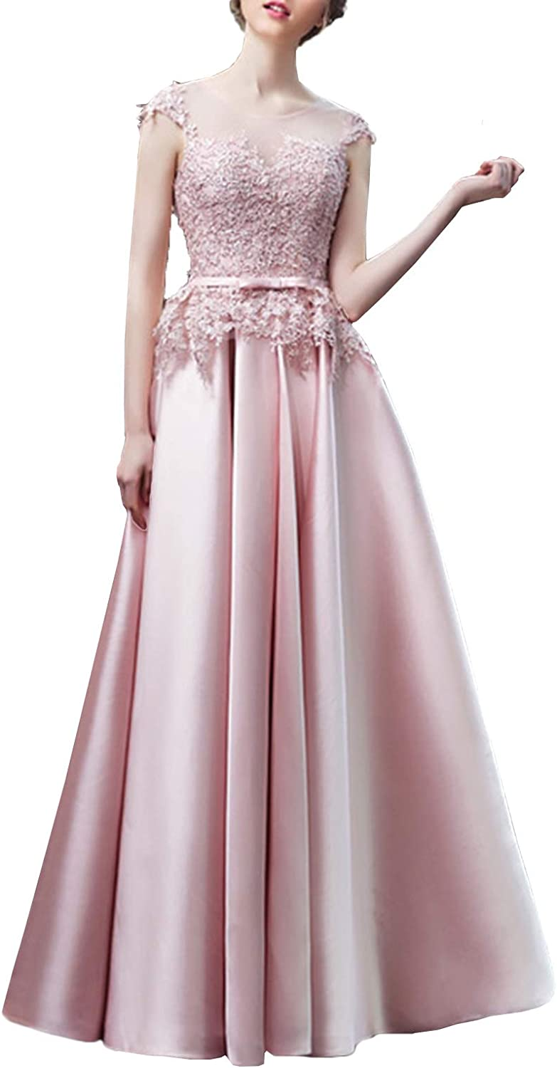 Scarisee Women's Illusion Scoop Prom Evening Party Dress Lace Appliqued BowSA265