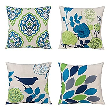 Unique Warm Outdoor Sofa Home Pillow Covers Floral Cartoon Shadow Bird Silhouette Cotton Linen Cushion Covers 18 X 18 Inches Pack of 4