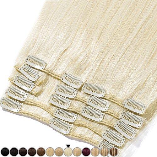 Clip In Extensions Haarverlängerung für komplette Remy Echthaar Glatt 120g - 60cm #60 Platinum Blonde