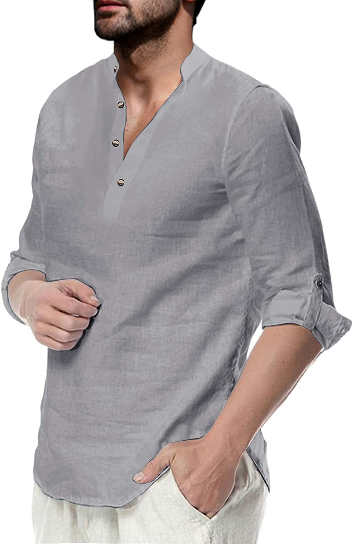 Mens Linen Cotton Henley Shirt Casual Long Sleeve Beach Hippie Yoga Tees Plain Summer Tops
