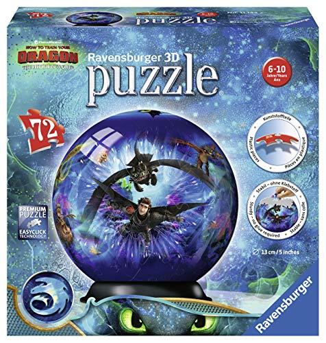Ravensburger - Como Entrenar a Tu Dragon 3, Bola Puzzle 3D, 72 piezas (11144)
