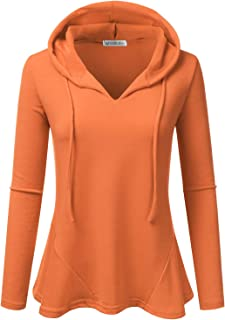 1d9f3f0f051 Doublju Womens Casual Lightweight Long Sleeve Pullover Hoodie with Plus  Sizes